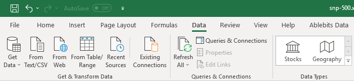 Free Stock Price Quotes & Price Information in Microsoft Excel